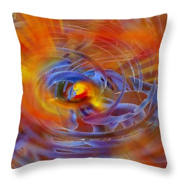 Throw Pillow featuring the digital art Abstract In Fire And Blue by rd Erickson