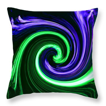 Abstract In Green And Purple Throw Pillow by Art Block Collections