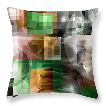 Throw Pillow featuring the painting Abstract In Green by Curtiss Shaffer
