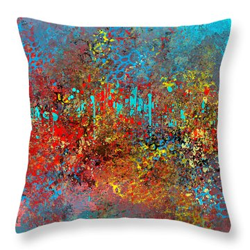 Abstract In Red Aqua And Yellow Throw Pillow
