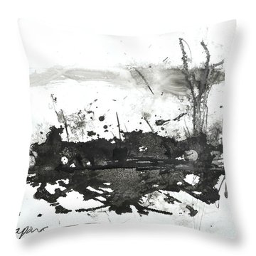 Modern Abstract Black Ink Art Throw Pillow
