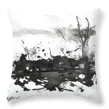Modern Abstract Black Ink Art Throw Pillow