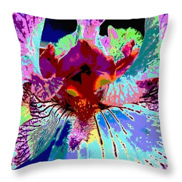 Throw Pillow featuring the photograph Abstract Iris by Sally Simon