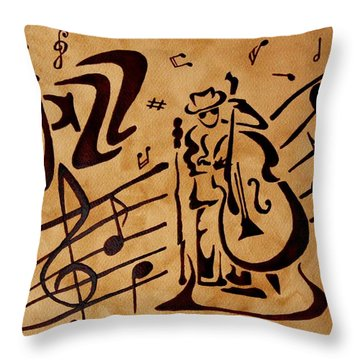 Abstract Jazz Music Coffee Painting Throw Pillow