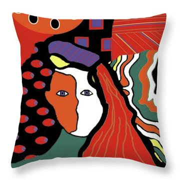 Abstract Lady Throw Pillow