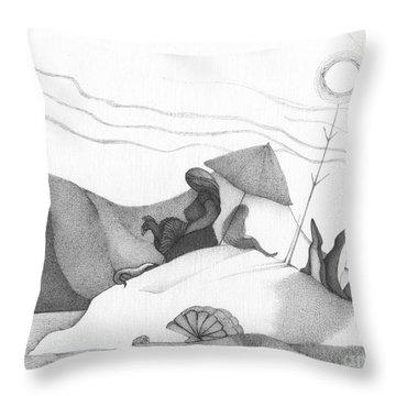Abstract Landscape Art Black And White Beach Cirque De Mor By Romi Throw Pillow by Megan Duncanson