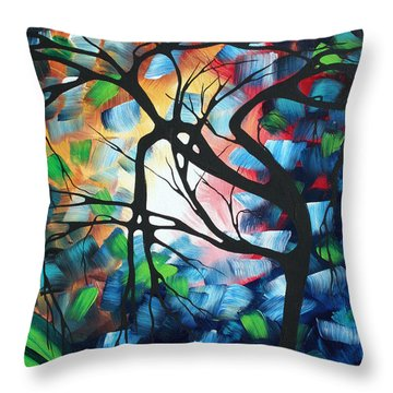 Abstract Landscape Art Original Colorful Painting Tree Maze By Madart Throw Pillow by Megan Duncanson