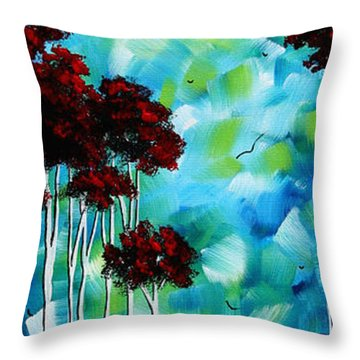 Abstract Landscape Art Original Tree And Moon Painting Blue Moon By Madart Throw Pillow by Megan Duncanson