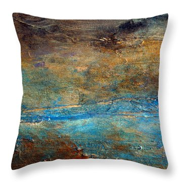 Rustic Abstract Landscape Painting Throw Pillow
