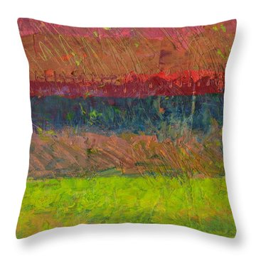 Abstract Landscape Series - Lake And Hills Throw Pillow