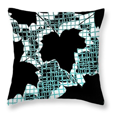 Abstract Leaf Pattern - Black White Turquoise Throw Pillow by Natalie Kinnear