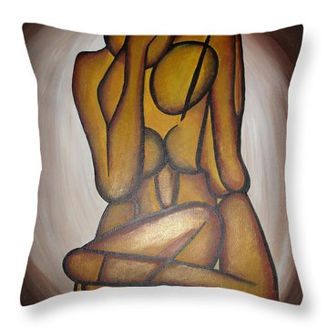 Throw Pillow featuring the painting Abstract Lovers by Tracey Harrington-Simpson