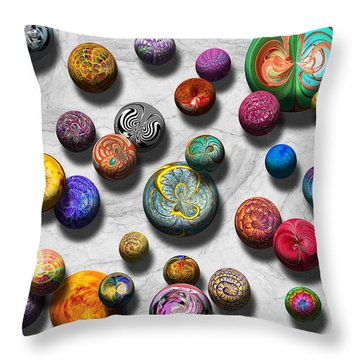 Abstract - Marbles Throw Pillow by Mike Savad