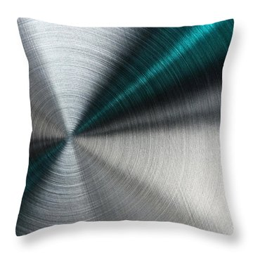 Abstract Metallic Texture With Blue Rays. Throw Pillow