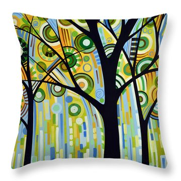 Abstract Modern Tree Landscape Spring Rain By Amy Giacomelli Throw Pillow
