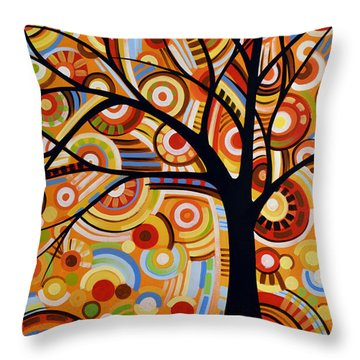 Abstract Modern Tree Landscape Thoughts Of Autumn By Amy Giacomelli Throw Pillow