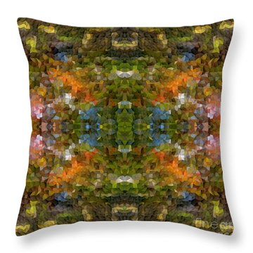 Abstract Mosaic In Green Blue Orange Throw Pillow