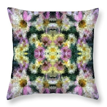 Abstract Mosaic In Yellow Pink Green Throw Pillow