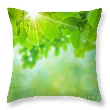 Abstract Natural Throw Pillow by Atiketta Sangasaeng