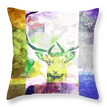 Abstract Nature Deer Portrait Throw Pillow