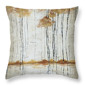 Abstract Neutral Landscape Pond Reflection Painting Mystified Dreams I By Megan Ducanson Throw Pillow by Megan Duncanson