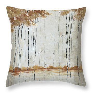 Abstract Neutral Landscape Pond Reflection Painting Mystified Dreams II By Megan Ducanson Throw Pillow by Megan Duncanson