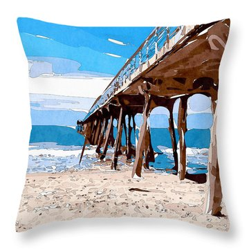 Abstract Ocean Pier Throw Pillow by Phil Perkins