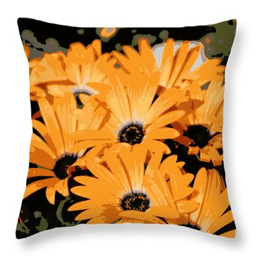 Throw Pillow featuring the photograph Abstract Orange Daisy by Kenny Glotfelty