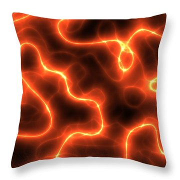 Abstract Orange Electricity Throw Pillow