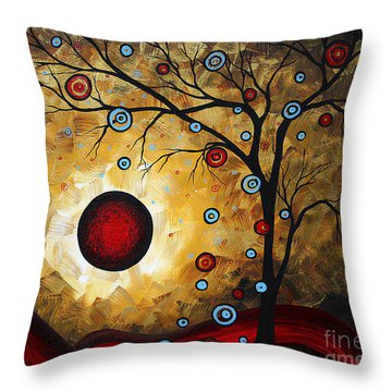 Abstract Original Gold Textured Painting Frosted Gold By Madart Throw Pillow by Megan Duncanson