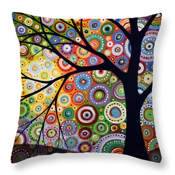 Abstract Original Modern Tree Landscape Visons Of Night By Amy Giacomelli Throw Pillow