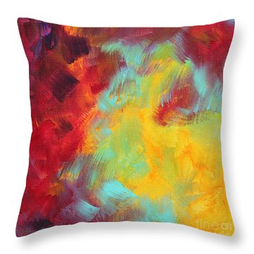 Abstract Original Painting Colorful Vivid Art Colors Of Glory I By Megan Duncanson Throw Pillow by Megan Duncanson
