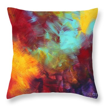 Abstract Original Painting Colorful Vivid Art Colors Of Glory II By Megan Duncanson Throw Pillow by Megan Duncanson