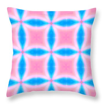 Throw Pillow featuring the digital art Abstract Pattern Of Pink And Blue Squares by Shelley Neff