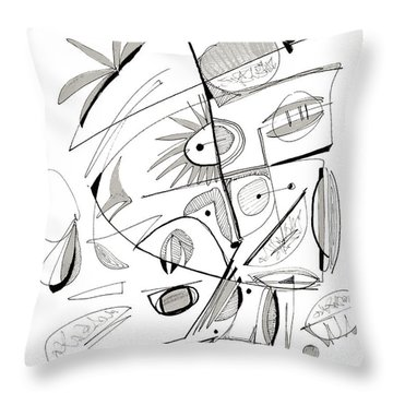 Abstract Pen Drawing Sixty-seven Throw Pillow