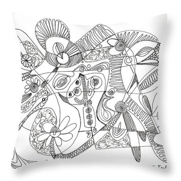 Abstract Pen Drawing Thirty-eight Throw Pillow