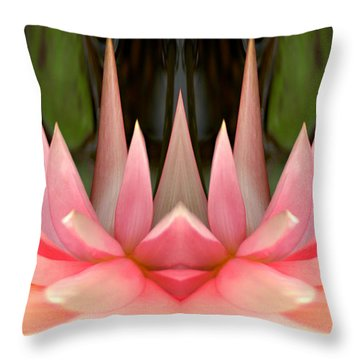 Abstract Pink Water Lily Throw Pillow