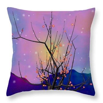 Abstract Plum Throw Pillow by GuoJun Pan