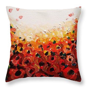 Abstract Poppies 2 Throw Pillow by Hae Kim