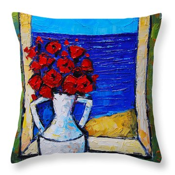 Abstract Poppies By The Sea Throw Pillow