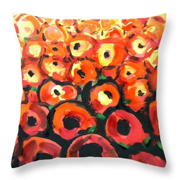 Abstract Poppies Throw Pillow by Hae Kim