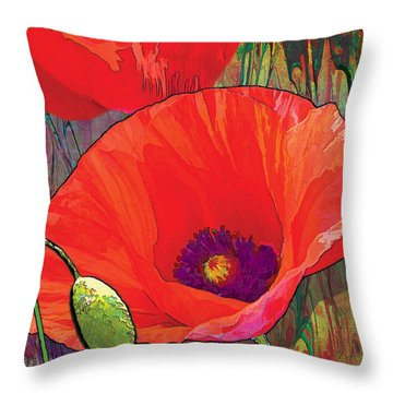 Abstract Poppy B Throw Pillow by Grace Pullen