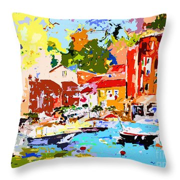 Abstract Portofino Italy Decorative Art Throw Pillow