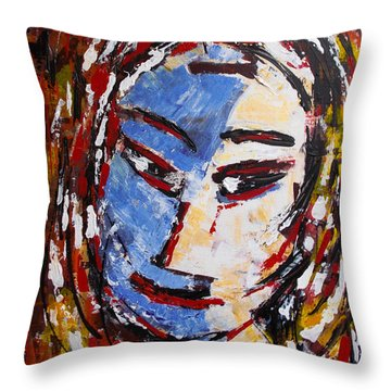 Throw Pillow featuring the painting Abstract Portrait #3 by Zeke Nord