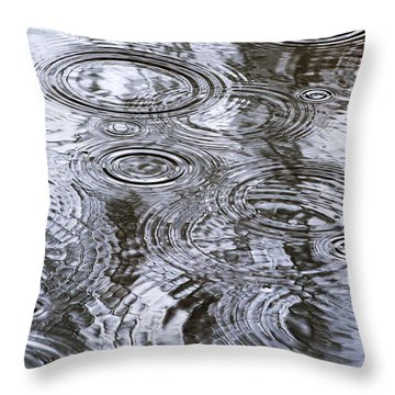 Abstract Raindrops Throw Pillow by Christina Rollo