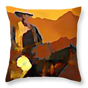 Abstract Range Riding Throw Pillow by John Malone