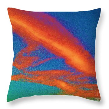 Abstract Red Blue And Green Sky Throw Pillow