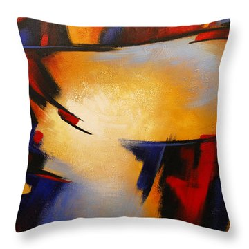 Abstract Red Blue Yellow Throw Pillow