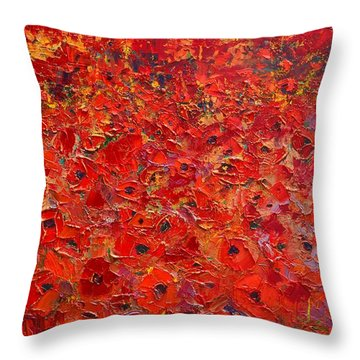 Abstract Red Poppies Field At Sunset Throw Pillow by Ana Maria Edulescu