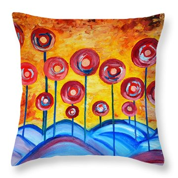 Abstract Red Symphony Throw Pillow
